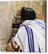 The Western Wall, Jewish Man Wearing Acrylic Print by Richard Nowitz