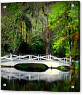 The White Bridge In Magnolia Gardens Sc Acrylic Print by Susanne Van Hulst
