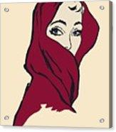 The Woman With The Crimson Veil Acrylic Print