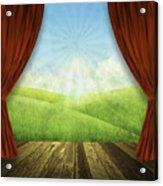 Theater Stage With Red Curtains And Nature Background  Acrylic Print