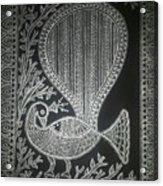 The Madhubani Peacock Acrylic Print