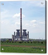 Thermal Power Plant On Green Wheat Field Industry Acrylic Print