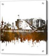 Thessaloniki Skyline City Brown Acrylic Print