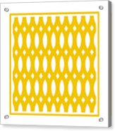 Thick Curved Trellis With Border In Mustard Acrylic Print