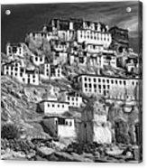 Thiksey Monastery - Paint Bw Acrylic Print