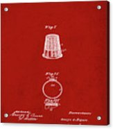 Thimble Patent 1891 In Red Acrylic Print