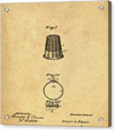Thimble Patent 1891 In Sepia Acrylic Print