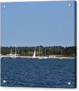 Third Beach Middletown With Boats Acrylic Print