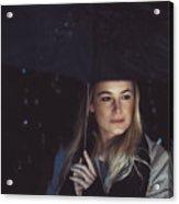 Thoughtful Woman Outdoors On Rainy Night Acrylic Print