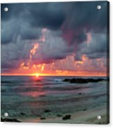 Threatening Sky Above The Caribbean Sea Off Isle De Mujeras' North Shore Acrylic Print