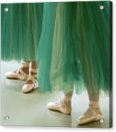 Three Ballerinas In Green Tutus Acrylic Print by Julia Hiebaum