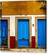 Three Blue Doors 1 Acrylic Print