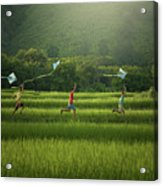 Three Boys Are Happy To Play Kites At Summer Field In Nature In  Acrylic Print
