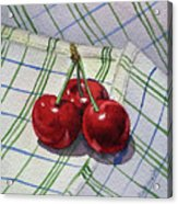 Three Sweet Cherries By Irina Sztukowski Acrylic Print