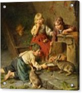 Three Children Feeding Rabbits Acrylic Print