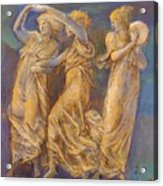 Three Female Figures Dancing And Playing Acrylic Print