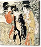 Three Girls Paddling In A River Acrylic Print by Kitagawa Utamaro