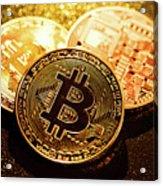 Three Golden Bitcoin Coins On Black Background. Acrylic Print