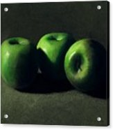Three Green Apples Acrylic Print by Frank Wilson