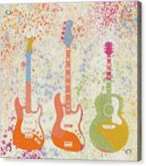 Three Guitars Paint Splatter Acrylic Print