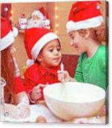 Three Kids Making Christmas Cookies Acrylic Print