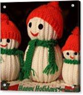 Three Knit Christmas Snowmen Acrylic Print