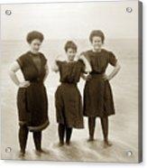 Three Ladies Bathing In Early Bathing Suit On Carmel Beach Early 20th Century. Acrylic Print