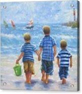 Three Little Beach Boys Walking Acrylic Print