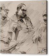 Three Men Chatting Acrylic Print