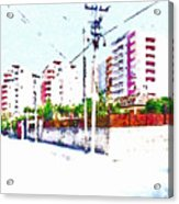 Three Modern Albanian Buildings Acrylic Print