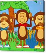 Three Monkeys No Evil Acrylic Print