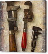 Three Old Worn Wrenches Acrylic Print