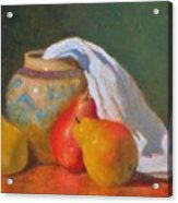 Three Pears With Persian Vase Acrylic Print