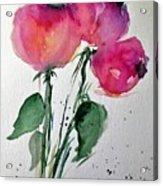 Three Pink Flowers 2 Acrylic Print