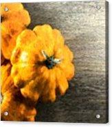 Three Pumpkins On Wood Acrylic Print