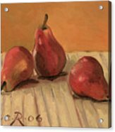 Three Red Pears Acrylic Print by Raimonda Jatkeviciute-Kasparaviciene