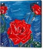 Three Red Roses Four Leaves Acrylic Print