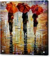 Three Red Umbrella Acrylic Print
