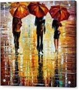 Three Red Umbrellas Acrylic Print