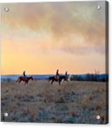 Three Riders In The Kansas Flint Hills Acrylic Print