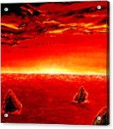 Three Rocks In Sunset Acrylic Print