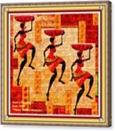 Three Tribal Dancers L A With Decorative Ornate Printed Frame. Acrylic Print