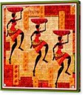 Three Tribal Dancers L B With Alt. Decorative Ornate Printed Frame. Acrylic Print