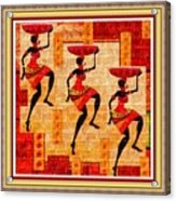 Three Tribal Dancers L B With Decorative Ornate Printed Frame Acrylic Print