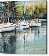 Three White Sails Docked Acrylic Print