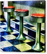 Three White Steamer Stools Acrylic Print