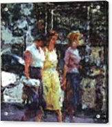 Three Women In Town Acrylic Print
