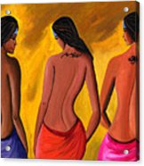Three Women With Tattoos Acrylic Print