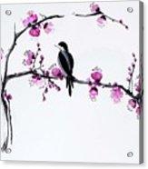 Thumb Bird In Plum Blossom Acrylic Print