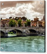 Tiber River, Ponte Sant'angelo And St. Peter's Cathedral, Roma, Italy Acrylic Print